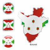 vector flag of burundi in map and web buttons shapes