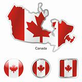 vector flag of canada in map and web buttons shapes