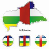 vector flag of central africa in map and web buttons shapes
