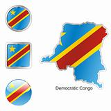 vector flag of equatorial congo in map and web buttons shapes