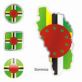 vector flag of dominica in map and web buttons shapes
