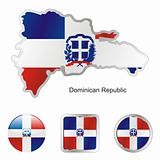 vector flag of dominican republic in map and web buttons shapes