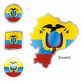 vector flag of ecuador in map and web buttons shapes