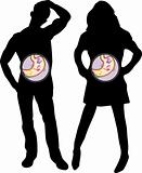 Girl and Boy Silhouette with Butterflies in the Stomach.