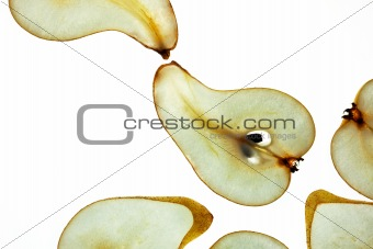 Sliced Pear isolated on white
