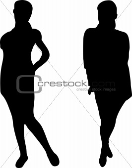 2 Elegant Women silhouettes on white background.