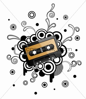 Abstract retro background with audio tape