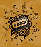 Grunge retro background with audio tape.