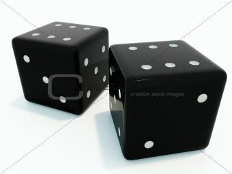 Six and six black dice