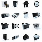 16 black and white plastic icons
