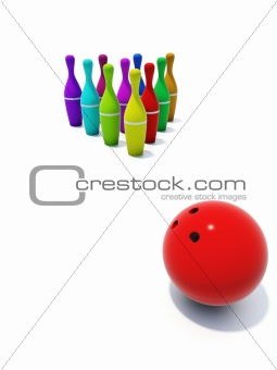 color skittles for bowling with ball