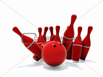 Red skittles for bowling