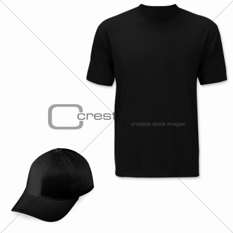 Black cap and t-shirt with clipping path