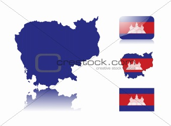Cambodian map and flags