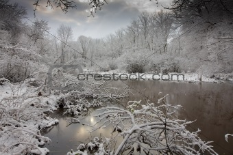 A Snowy landscape of a lake with fresh powder scattered about.5