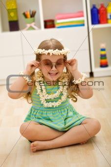 Little girl playing popcorn princess