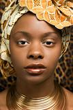 Close-up of Young African American Woman in Traditional African Dress