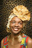 Smiling Young African American Woman in Traditional African Dress