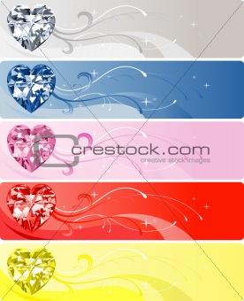 5 Diamond Heart Banners
