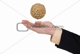 Business man with rubberband ball