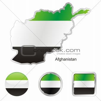 vector flag of afghanistan in map and web buttons shapes
