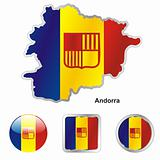 vector flag of andorra in map and web buttons shapes