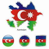 vector flag of azerbaijan in map and web buttons shapes
