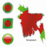 vector flag of bangladesh in map and web buttons shapes