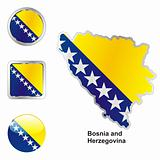 vector flag of bosnia and herzegovina in map and web buttons shapes