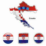 vector flag of croatia in map and web buttons shapes
