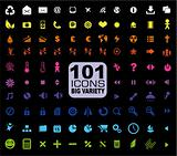 Set of 101 Icons - General. Internet, Mulstimedia, Financial and more