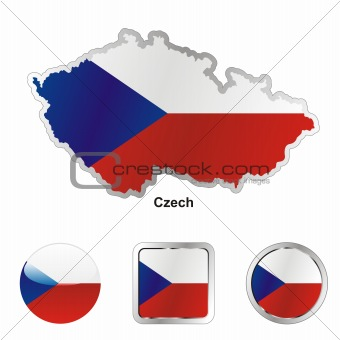 flag of czech in map and internet buttons shape
