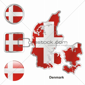 flag of denmark in map and internet buttons shape