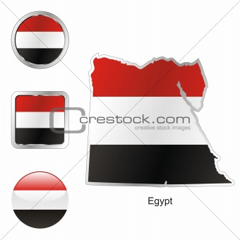 flag of egypt in map and internet buttons shape