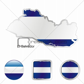 flag of el salvador in map and internet buttons shape