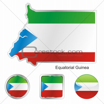 flag of equatorial guinea in map and internet buttons shape