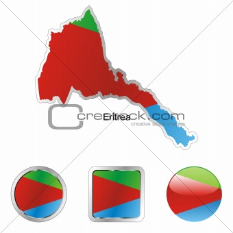 flag of eritrea in map and internet buttons shape