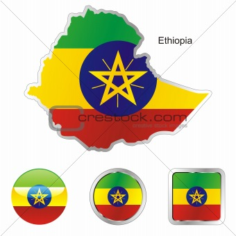 flag of ethiopia in map and internet buttons shape