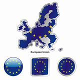 flag of european union in map and web buttons shapes