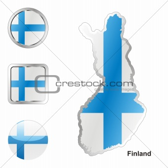flag of finland in map and internet buttons shape