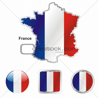 flag of france in map and internet buttons shape