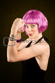 Portrait of woman with shiny purple hair