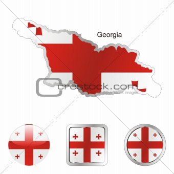 flag of georgia in map and web buttons shapes