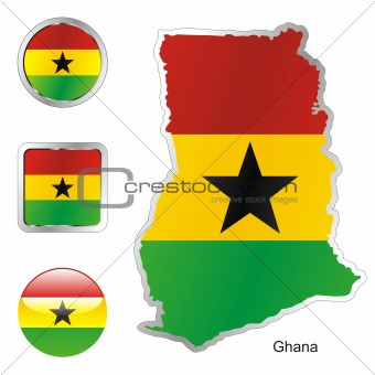 flag of ghana in map and web buttons shapes