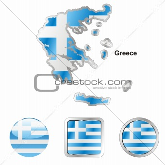 flag of greece in map and web buttons shapes