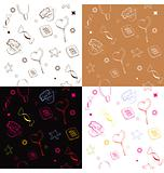 Four seamless pattern with candies,