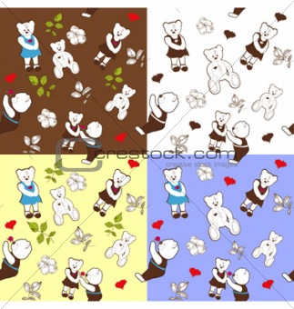 four seamless patterns with bears