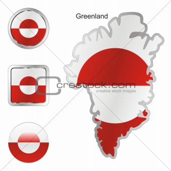 flag of greenland in map and web buttons shapes