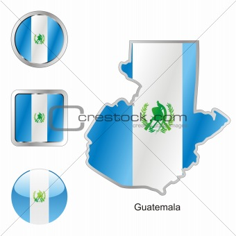 flag of guatemala in map and web buttons shapes