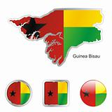 flag of guinea bissau  in map and web buttons shapes
